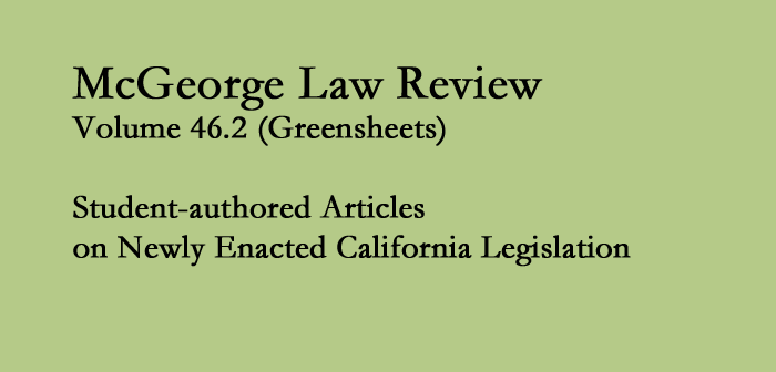 McGeorge Law Review Volume 46.2: Greensheets